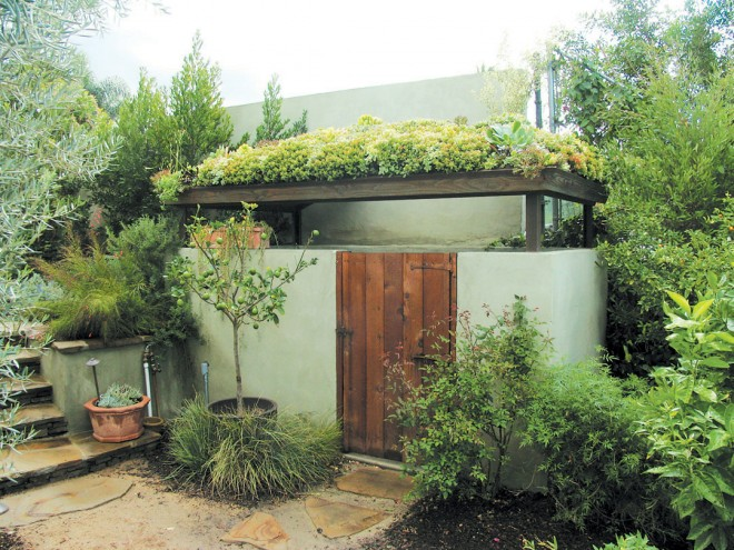Succulents lushly cover the pool shed in Sherman Oaks, California. Photograph by Flower to the People; design by Comfort Zones Garden Design