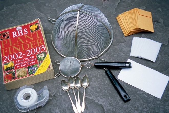 Typical supplies used for preparing seeds include assorted strainers, glassine and manila envelopes, and a good plant identification book. Photographs by Janet Endsley - See more at: http://www.pacifichorticulture.org/articles/seeds-miracles-in-tiny-packages/#sthash.R6cvE4q4.dpuf