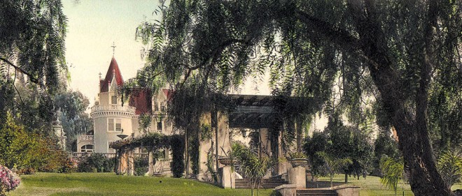 Kimberly Crest front garden, landscaped by architect George Bergstrom, ca 1920