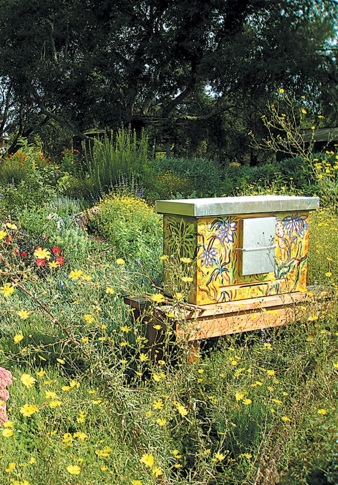An Einraumbeute beehive in the Melissa Garden