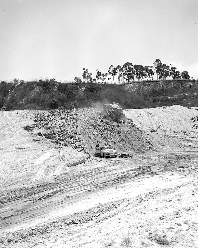 Some of the last deposits of refuse in the landfill that became the South Coast Botanic Garden, circa 1965. Photographs courtesy La County Arboretum & Botanical Garden Library, except as noted