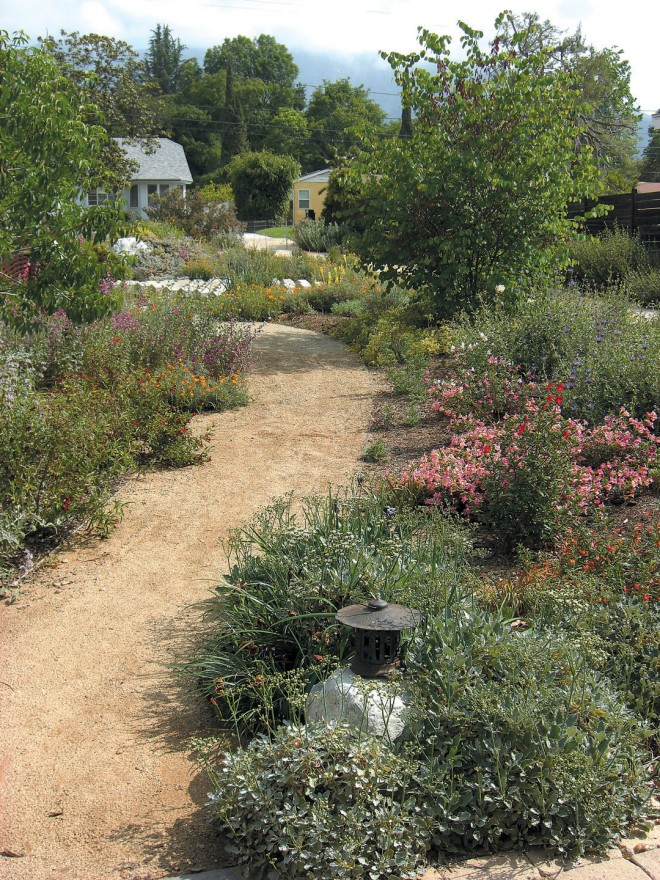 Only from the meandering path through the native garden is the art installation visible; annual wildflowers, such as Clarkia species and California poppy (eschschlzia californica) color the beds in late spring. photographs by andreas hessing