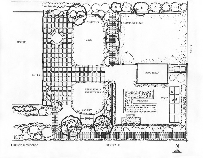 Plan of the side and rear garden. Drawing by Jennifer Carlson