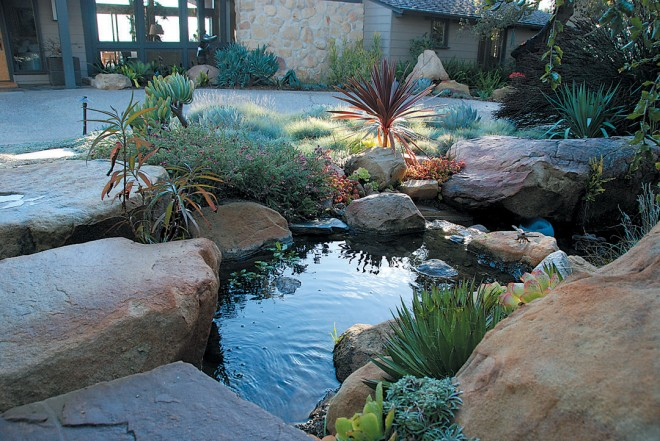 A small pond, nestled among rocks found onsite, fills a corner of the front