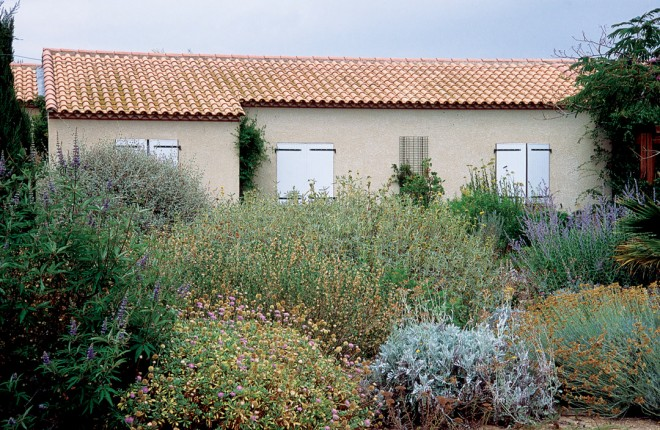 Olivier's home in Southern France, shuttered against the Mistral; the unwatered garden in front is filled with mounded shrubs and perennials in their summer dormancy. Photographs by Dave Fross