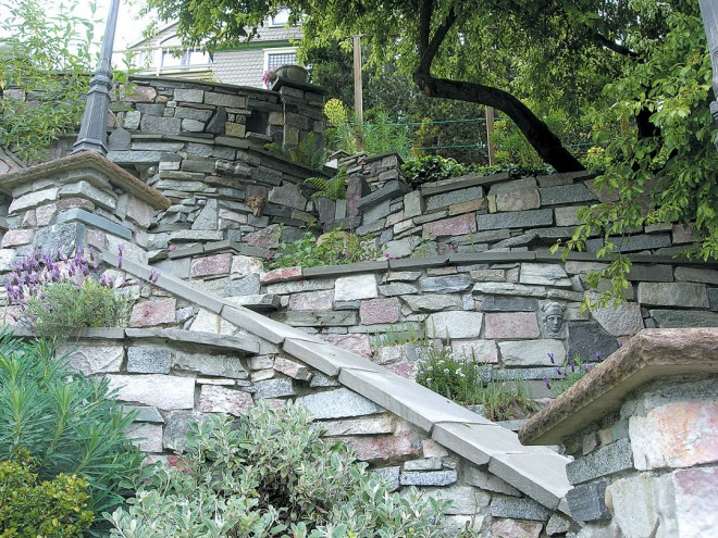 Switchback staircases in Mike Knapp's stone masterpiece on Greenlake Way in Seattle