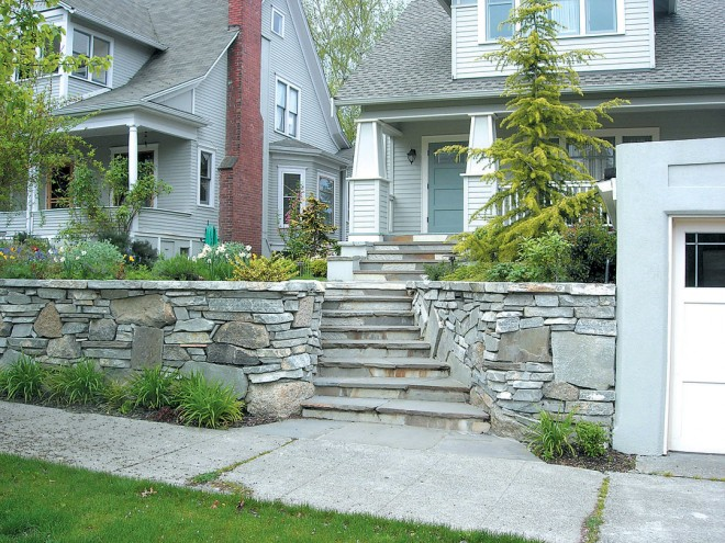 Contrasting large and small stones in a 16th Avenue NW wall are typical of walls by Jim DuBois