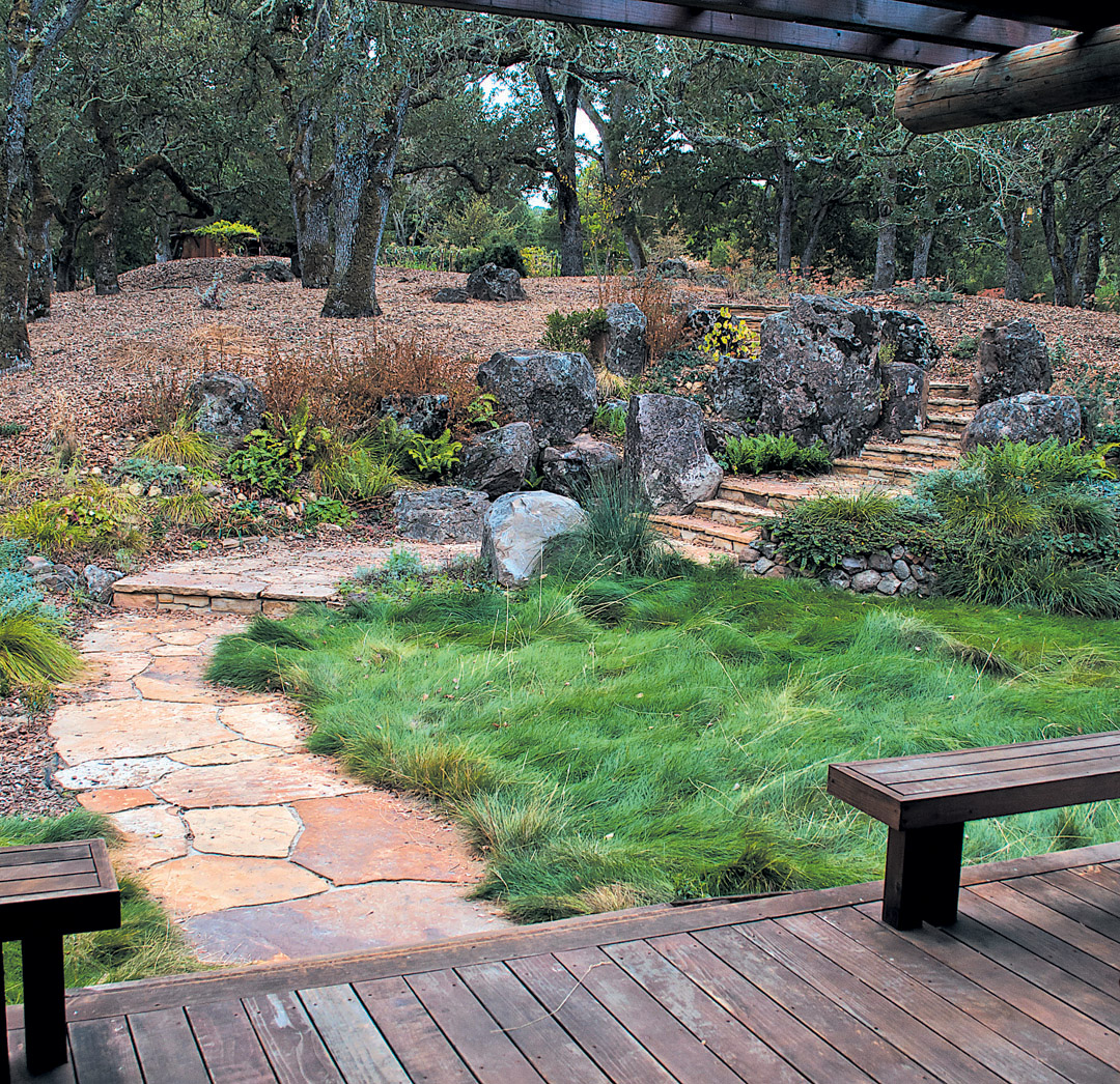 This California Garden Blends Japanese And Western Design. The Author  Graded The Site, Built