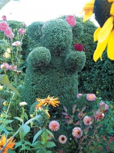 A whimsical topiary at the Seattle Children's PlayGarden