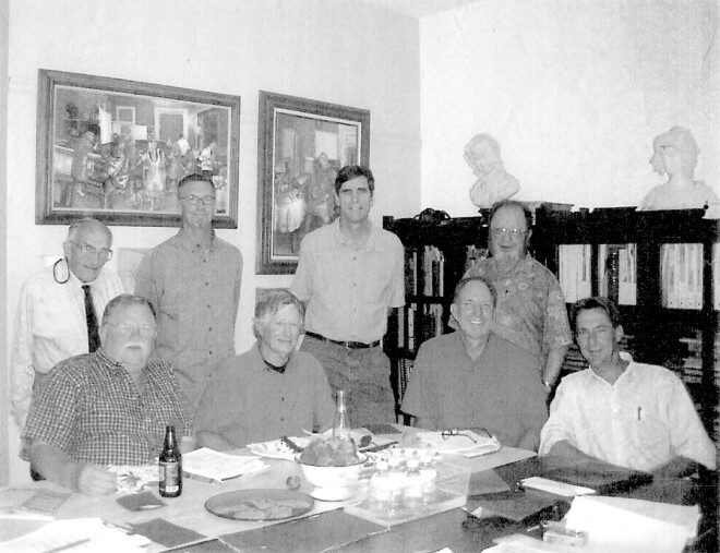 From left to right: Ernest Wertheim, Warren Roberts, Paul Doty, Nevin Smith, Hank Hellbush, Bob Perry, Barrie Coate, Ron Lutsko. Photograph by Carol Coate
