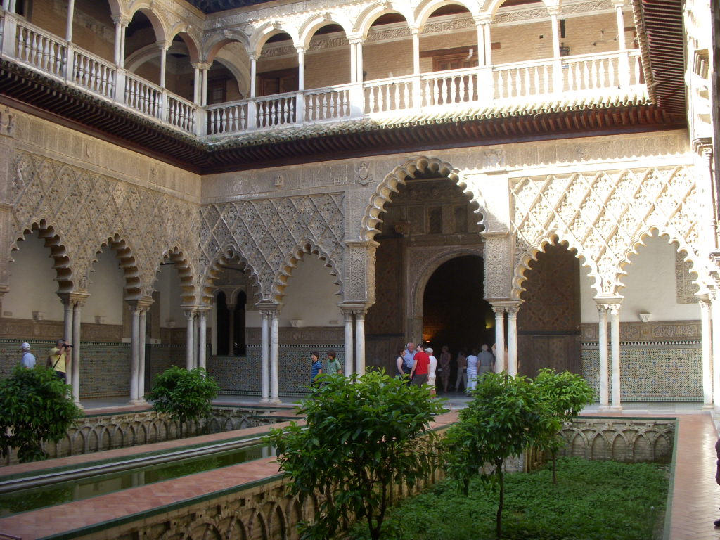 Recessed planting beds in the courtyard of the Alcazar in Seville.