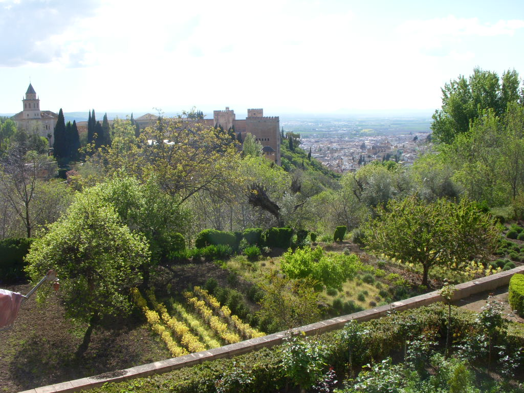 Terraced orchards outside the walls of the Generalife are filled with edible crops.