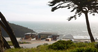 Sitting exposed on the bluffs above the old Sutro baths, Lands End Lookout offers a sheltered view of the wild and rugged shoreline. Photo: Marion Brenner