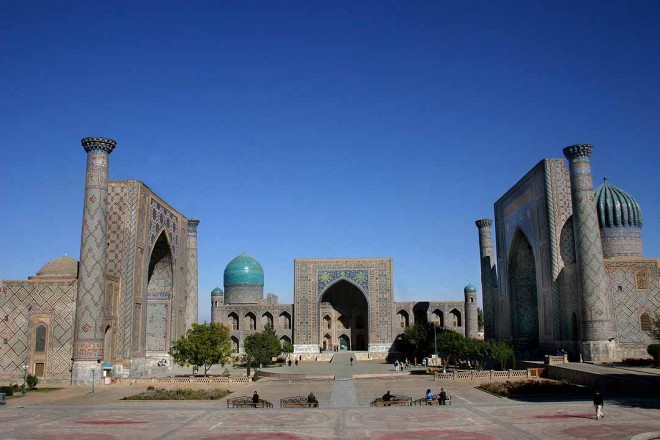 Public square in the heart of the ancient city of Samarkind, Uzbekistan. Photo: Cristi Walden