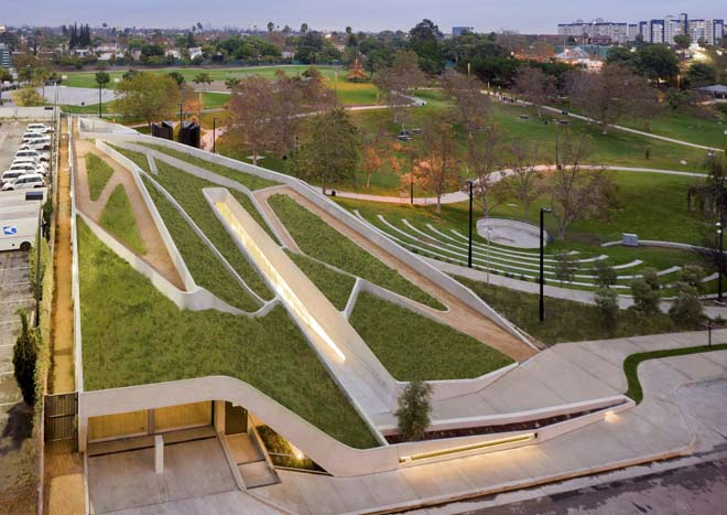 An aerial view of the dynamic Los Angeles Museum of the Holocaust designed by architect Hagy Belzberg. Photo: Iwaan Ban