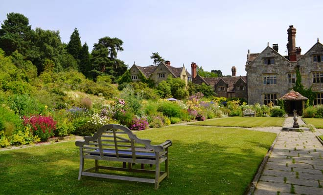 A lavish mixed border at Gravetye Manor. Photo: Nancy Carol Carter