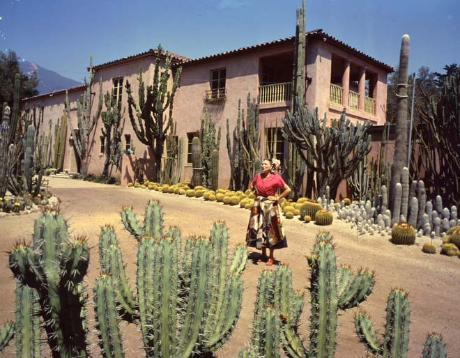 Madame Ganna Walska posing in front of her home's signature landscape. Photo: courtesy of Ganna Walska Lotusland