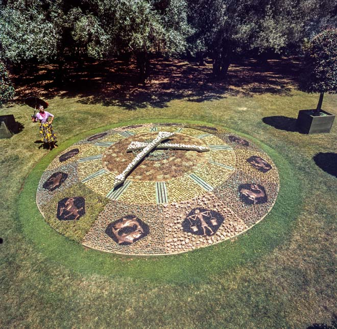 Madame Ganna Walska with the newly installed floral clock at Lotusland in 1955. Photo: courtesy of Ganna Walska Lotusland