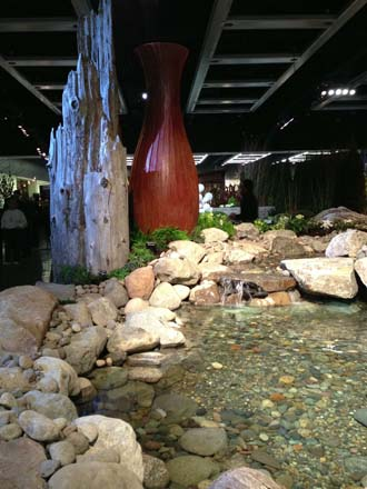 Another shot of the water feature reminding us we're indoors—no easy feat to pull off!