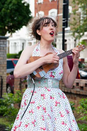 Jo Stephenson of Can You Dig It performs horticultural hijinks set to music.  Photo: courtesy of Chelsea Fringe
