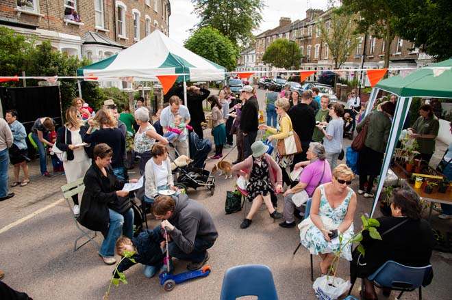 In Finsbury Park, North London, neighbors gathered for Cake Sunday and to admire each other's front gardens.  Photo: courtesy of Chelsea Fringe