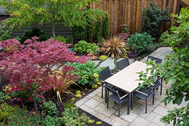 Diagonal lines energize small spaces while large planting pockets accommodate a rich and varied plant palette like the one pictured here.  Garden design and photo: Darcy Daniels, Bloomtown Gardens