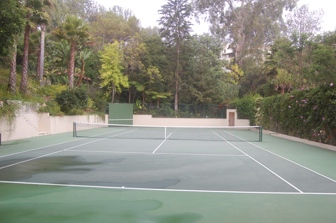 Runoff from the 7,200-square-foot tennis court feeds into the cistern. Photo: Paula Henson