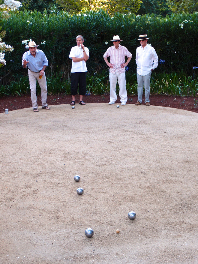 Guests enjoying a leisurely game of pétanque. Photo: Kirsten Honeyman