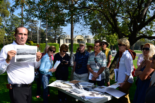 Weekend participants gather to explore landscape design in their community.  Photo: Robbie Anderson, courtesy of The Cultural Landscape Foundation