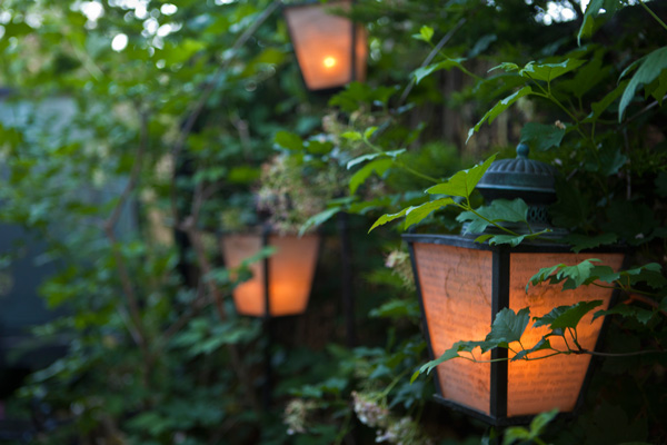 Lamps in the garden illuminate text from Frankenstein by Mary Shelley. Photo: MB Maher