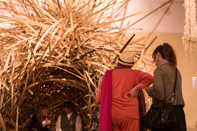 "Visitors examine ""Nest"" at the opening reception. Photo: Luke Judd"