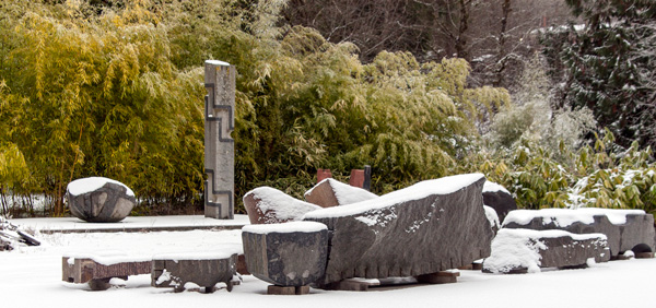 Michihiro Kosuge's sculptures on his Scappoose property stand out in sharp relief against the winter snow.  Photo: Eric Mellencamp and Laura Russo Gallery