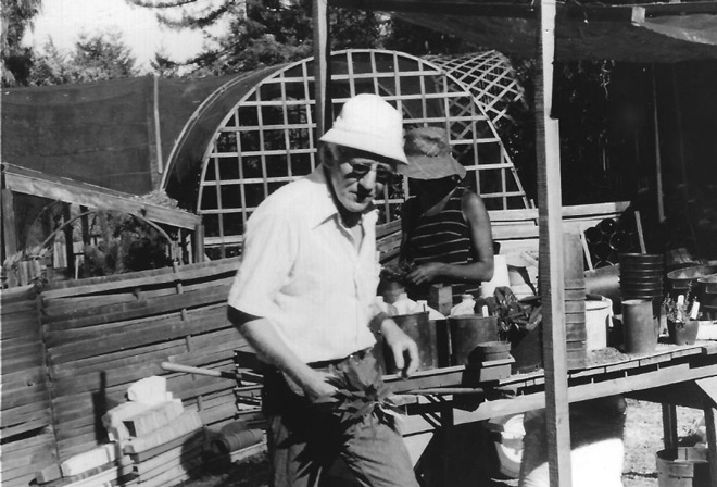 Marshall Olbrich at planting bench with Betsy Flack in the background (July 30, 1978). Photo: Jim Flack
