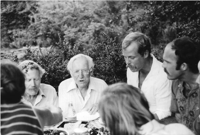 Dining in the garden, 1978. Left to right: Lester Hawkins, Marshall Olbrich, Bill Day, and Jim Hickey.  Photo: Jim Flack