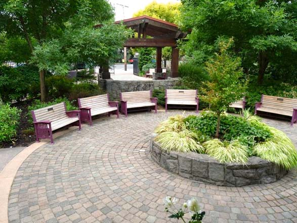 A circle of beautiful benches provides a place to gather or rest at the Portland Memory Garden. Photo: Patty Cassidy