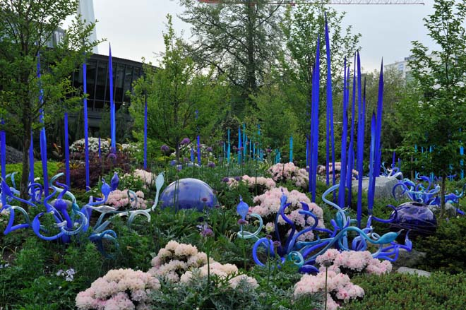 The garden and the art form a unified composition; Cobalt Reeds, Clusters, and Floats in spring. Photo: Richard Hartlage, Land Morphology