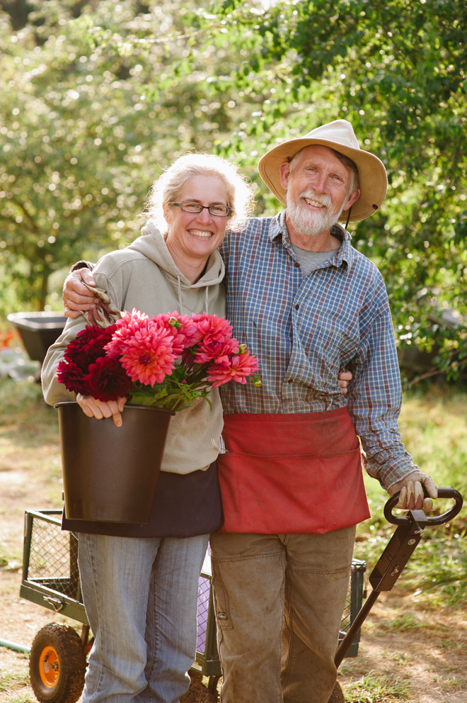 Diane Szukovathy and Dennis Westphall, artists, farmers, and friends of the local-flower industry.  Photo: Mary Grace Long