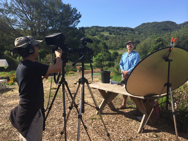 "Behind the scenes on a Garden Tribe shoot for ""Grafting Demystified"" with John Valenzuela.  Photo: courtesy of Garden Tribe"