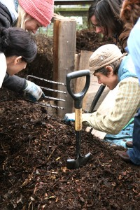 Composting workshops at the Garden for the Environment are hands-on. Photo: Blair Randall, GFE executive director