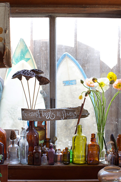 Inspiration and artifacts in the Willi Wildflower studio.  Photo: Julie Martin