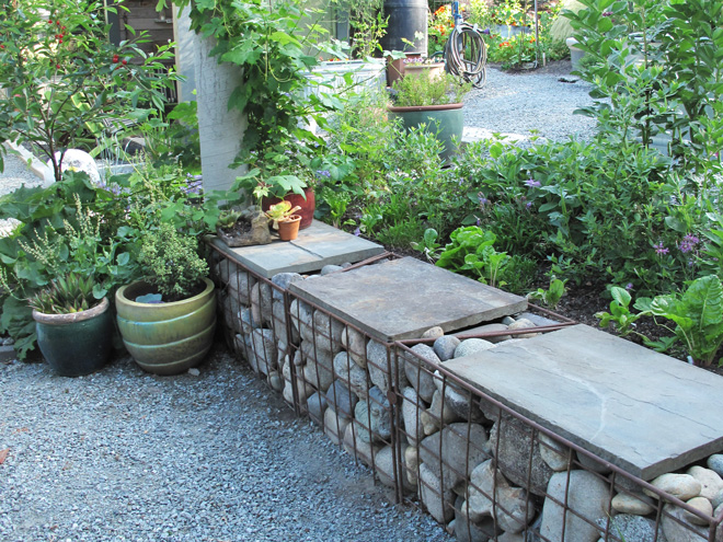 Gabion bench in the Edwards Forkner garden. Photo: Lorene Edwards Forkner