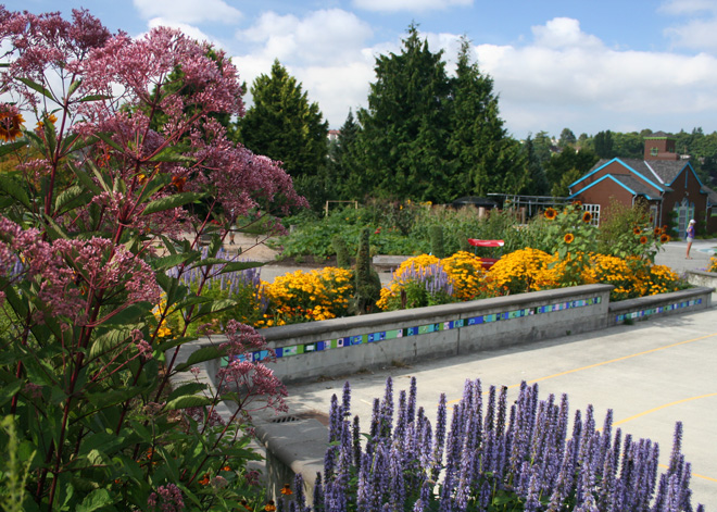 The lively and bountiful Seattle Children's PlayGarden. Photo: Lorene Edwards Forkner