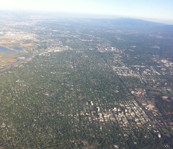The view from a plane offers a perspective on the extent of Palo Alto's urban forest coverage.  Photo: Matt Ritter