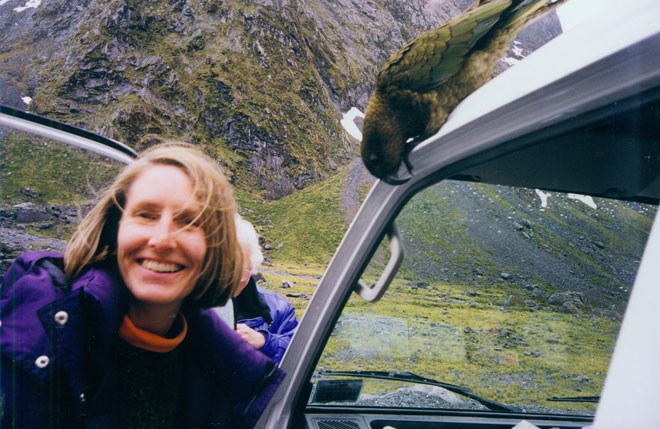 Intrepid world traveler and bird lover—this shot is from a trip to New Zealand in the late 90s. Photo: personal collection
