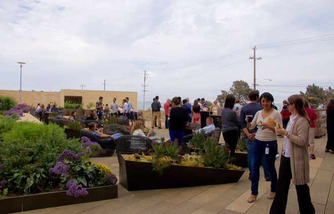 The garden at STEM provides a congenial place for Mission Bay residents to gather. Photo: courtesy of Bon Appetite Management Company