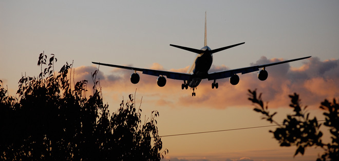 The roar of air traffic is a constant in this neighborhood that is both industrial and residential.  Photo: Dan Corum