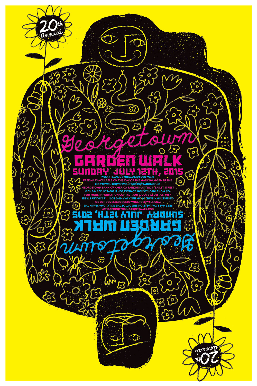 Last year's poster commemorated the Georgetown Garden Walk's 20th year.  Art by Jay Bryant, Purpose & Co.
