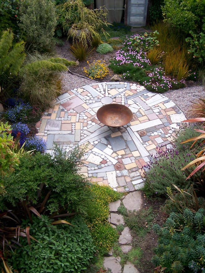 Meticulously executed, this garden patio is crafted from memorial waste. Photo: Organic Mechanics
