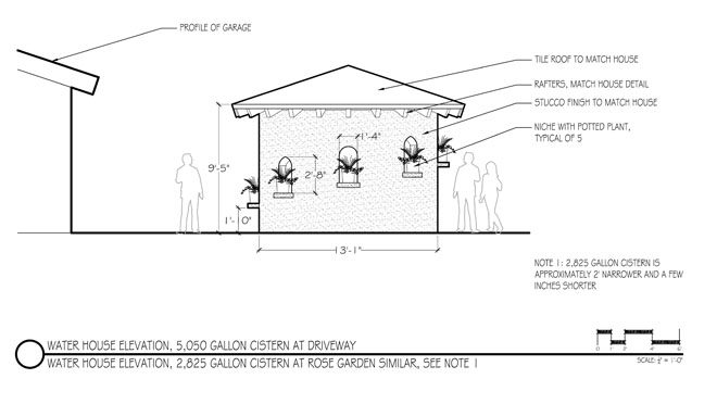 Integrating a water storage element to match existing on-site architectural elements. Diagram: Urban Water Group, Inc.