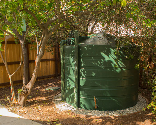 In this case study a large tank captures water from a 908-square-foot roof area. Photo: courtesy of The Greater LA Water Collaborative